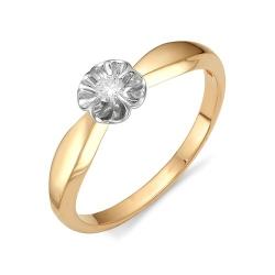 Золотое кольцо в виде цветка с одним бриллиантом