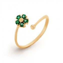Золотое кольцо Цветок с изумрудом