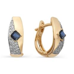 Золотые серьги с сапфирами огранки принцесса и бриллиантами