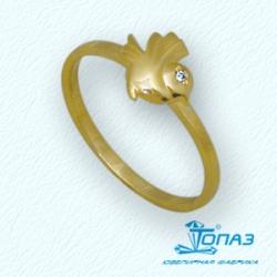 Детское кольцо Птица из желтого золота с фианитом