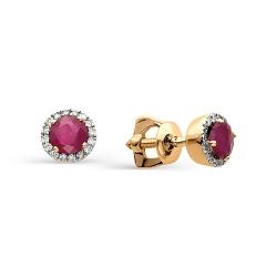 Золотые серьги гвоздики с рубинами и бриллиантами