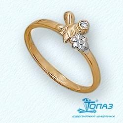 Детское золотое кольцо Пчелка с фианитом