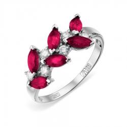 Женское кольцо из белого золота с рубином и бриллиантом