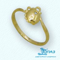 Детское кольцо Жучок из желтого золота с фианитом
