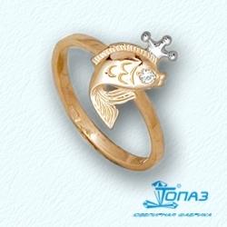 Детское золотое кольцо Рыбка с фианитом