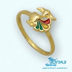 Детское кольцо Попугай из желтого золота с эмалью