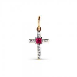 Золотой крестик с рубином и бриллиантом