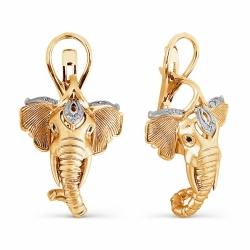 Золотые серьги в виде слона с бриллиантами