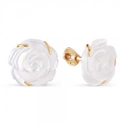 Золотые пусеты Розы с перламутром