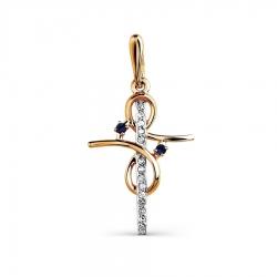 Золотой крестик с сапфиром и бриллиантом