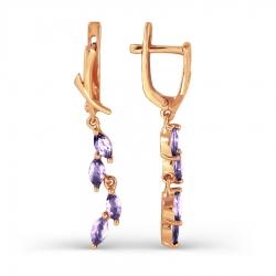 Золотые длинные серьги с аметистом