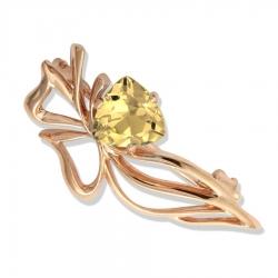Золотая брошь Растения с цитрином