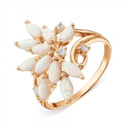 Золотое кольцо Растения с опалами, фианитами