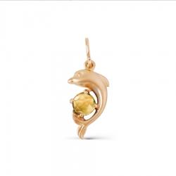 Золотая подвеска Дельфин с цитрином
