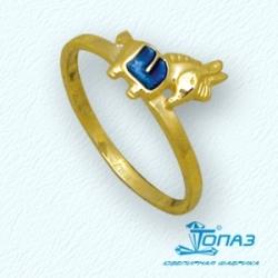 Детское кольцо Конек из желтого золота с эмалью