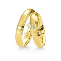 Т-27565 золотые парные обручальные кольца (ширина 4 мм.) (цена за пару)