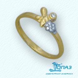 Детское кольцо Пчела из желтого золота с фианитом