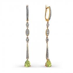 Золотые серьги с хризолитом и бриллиантом