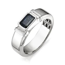 Мужское кольцо с большим сапфиром огранки багет