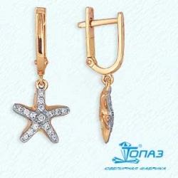 Золотые серьги Морские звезды с фианитами
