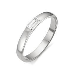 Обручальное кольцо с бриллиантом формы багет