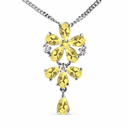 Колье Цветок из белого золота с цитринами, фианитами