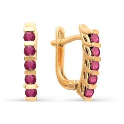 Золотые серьги с 10 круглыми рубинами