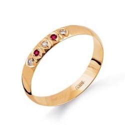 Обручальное золотое кольцо с рубином и бриллиантом