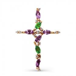 Золотой крестик с аметистами, хризолитами, фианитами