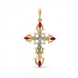 Крестик из желтого золота с рубином и бриллиантом