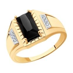 Кольцо из золота с родированием, агатом и фианитами