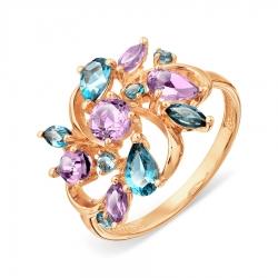 Золотое кольцо с аметистом и топазом Лондон