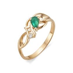 Золотое кольцо с изумрудом и бриллиантом