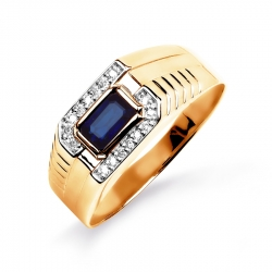 Золотое мужское кольцо с сапфиром, бриллиантами