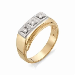 Мужское кольцо с тремя бриллиантами