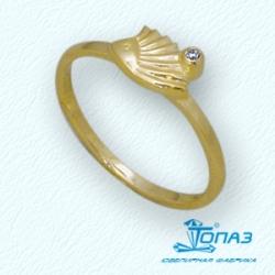 Детское кольцо Ежик из желтого золота с фианитом