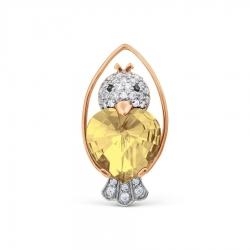 Золотая брошка Птичка с цитрином и фианитами