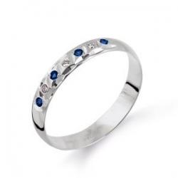 Кольцо из белого золота обручальное с сапфирами, бриллиантами