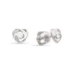 Серьги гвоздики в виде сердечек с бриллиантами
