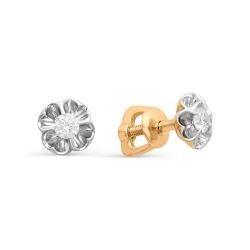 Серьги гвоздики в виде цветов из золота с маленькими бриллиантами