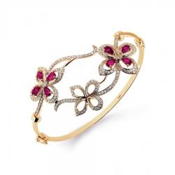 Золотой браслет с рубином и бриллиантом