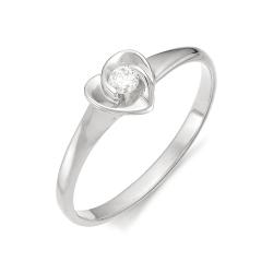 Золотое кольцо в виде сердца с бриллиантом
