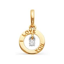 Золотая подвеска «I Love You» с одним бриллиантом