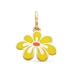 золотая подвеска с эмалью в виде цветка