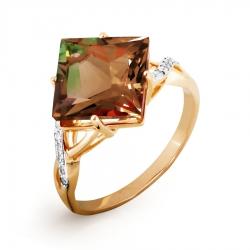 Золотое кольцо с султанитом ситалл, фианитами