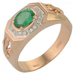 Мужское золотое кольцо с изумрудом и бриллиантами