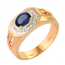 Мужское золотое кольцо с сапфиром и бриллиантами