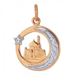 Мусульманская золотая подвеска с фианитом