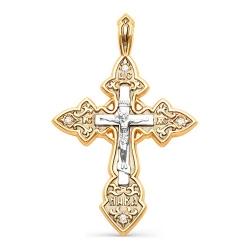 Мужской золотой крестик в кельтском стиле с бриллиантами