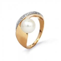 Золотое кольцо с белым жемчугом, бриллиантами